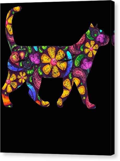 Ocicats Canvas Print - Rainbow Flower Cat by Kaylin Watchorn