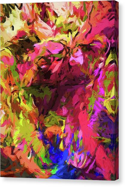 Rainbow Flower Rhapsody Pink Cobalt Blue Canvas Print