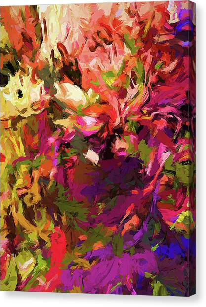 Rainbow Flower Rhapsody Purple Green Canvas Print