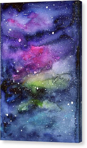 Constellations Canvas Print - Rainbow Galaxy Watercolor by Olga Shvartsur