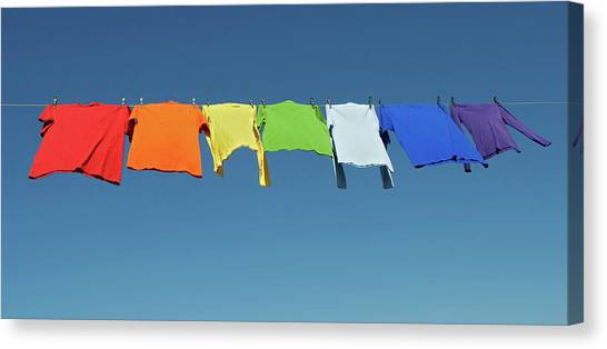 Gay Pride Canvas Print - Rainbow Laundry, Bright Shirts On A Clothesline by GoodMood Art