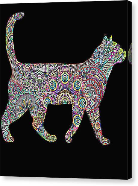 Ocicats Canvas Print - Rainbow Neon Cat by Kaylin Watchorn