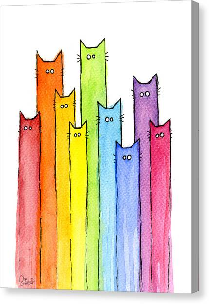 Rainbows Canvas Print - Rainbow Of Cats by Olga Shvartsur