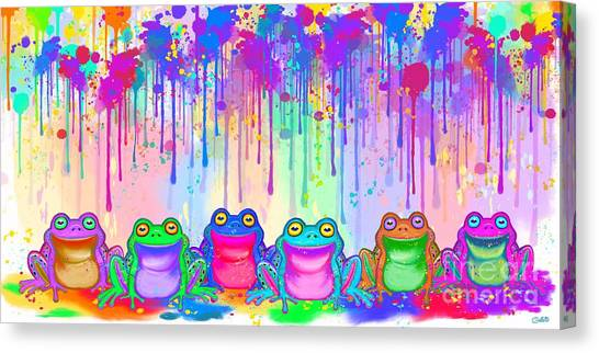 Canvas Print - Rainbow Of Painted Frogs by Nick Gustafson