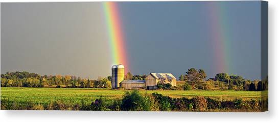 Rainbow Over Barn Silo Canvas Print