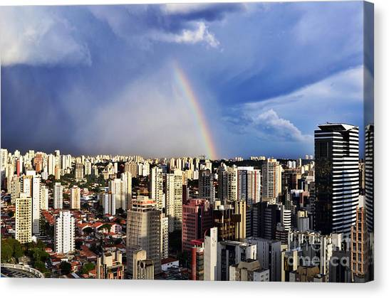 Rainbow Over City Skyline - Sao Paulo Canvas Print