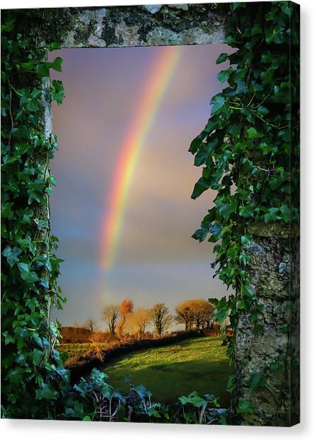 Canvas Print featuring the photograph Rainbow Over County Clare, Ireland, by James Truett