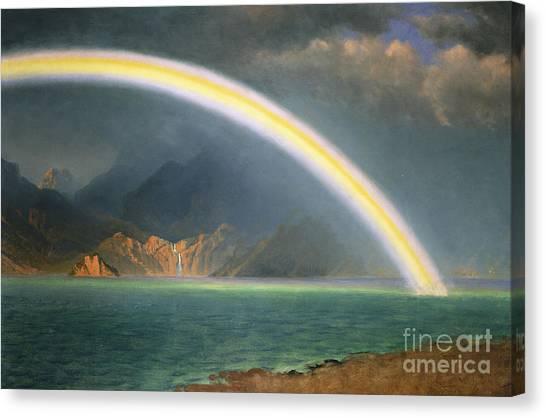 Jenny Lake Canvas Print - Rainbow Over Jenny Lake Wyoming by Albert Bierstadt