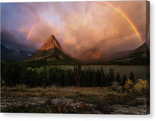 Rainbow Over Mt Gould Canvas Print