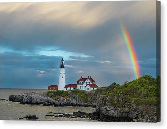Rainbow Over Portland Head Light Canvas Print