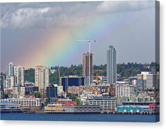 Rainbow Over Seattle Canvas Print