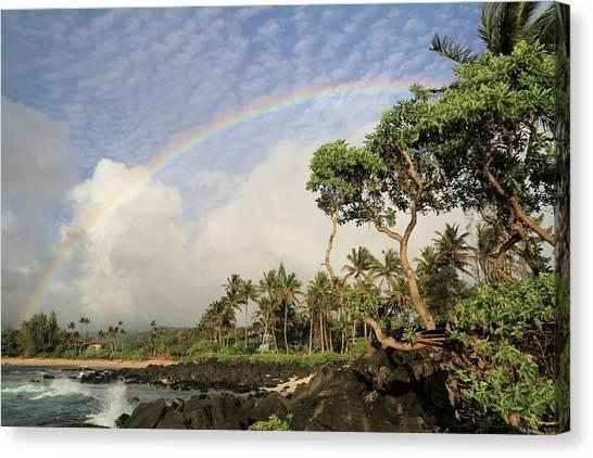 Rainbow Over The Beach Canvas Print