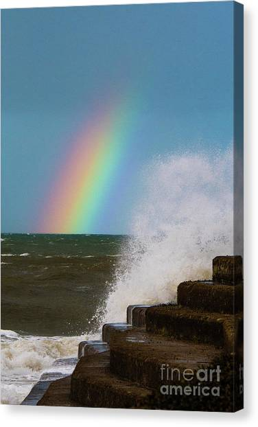 Rainbow Over The Crashing Waves Canvas Print