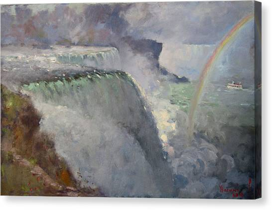 Niagara Falls Canvas Print - Rainbow Over The Falls by Ylli Haruni