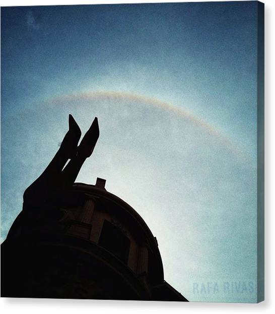 Rainbows Canvas Print - Rainbow Over The Hole  #rainbow #sky by Rafa Rivas