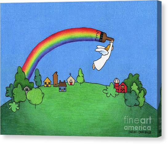 Angel Canvas Print - Rainbow Painter by Sarah Batalka