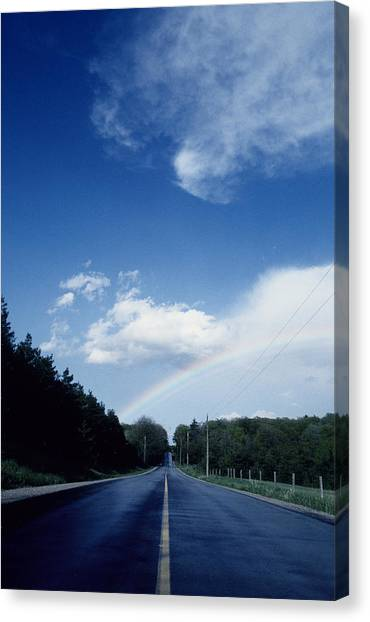 Rainbow Road Blue Sky Canvas Print