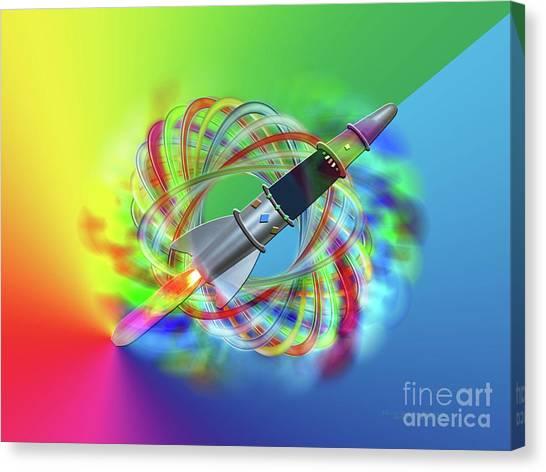 Rainbow Rocket Orbits Canvas Print