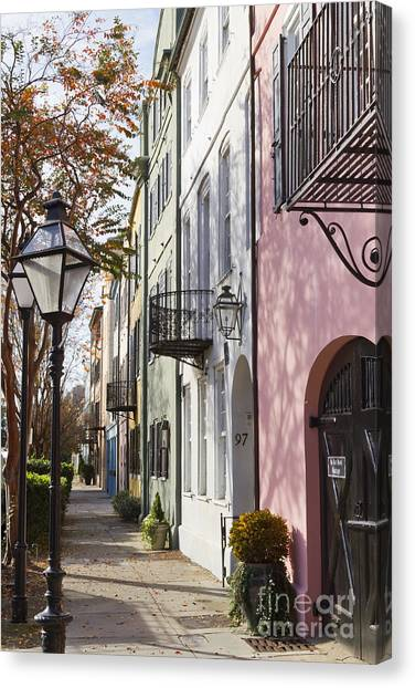 Rainbow Row Charleston Sc 3 Canvas Print