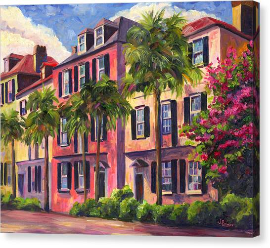 Rainbows Canvas Print - Rainbow Row Charleston Sc by Jeff Pittman