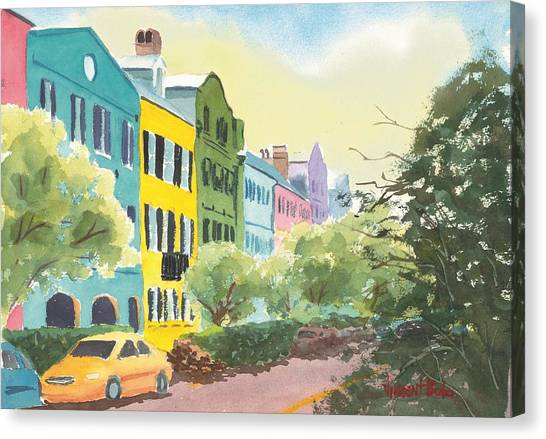 Sweet Tea Canvas Print - Rainbow Row by Vincent Bobo