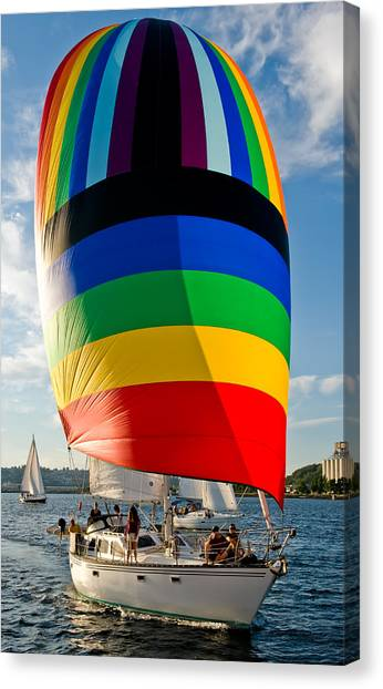 Rainbow Spinaker Canvas Print by Tom Dowd