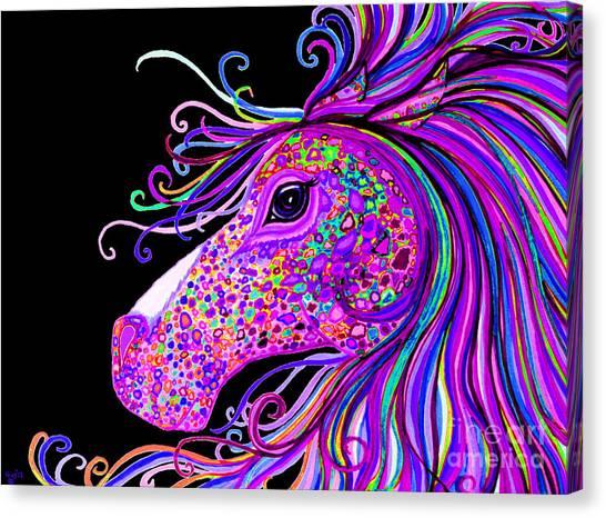 Rainbow Spotted Horse Head 2 Canvas Print