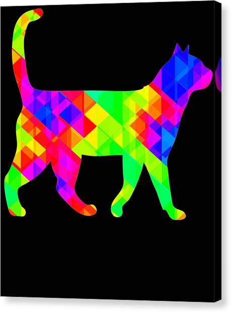 Ocicats Canvas Print - Rainbow Square Cat Inverted by Kaylin Watchorn
