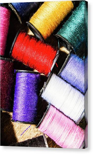 Sewing Canvas Print - Rainbow Threads Sewing Equipment by Jorgo Photography - Wall Art Gallery