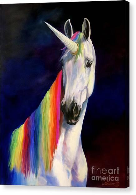 Unicorns Canvas Print - Rainbow Unicorn by Jeanne Newton Schoborg