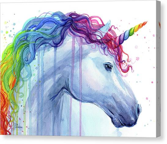 Rainbows Canvas Print - Rainbow Unicorn Watercolor by Olga Shvartsur