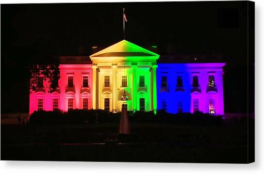 Rainbow White House Canvas Print