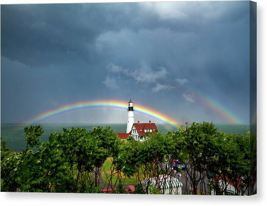 Rainbow X 2 At Portland Headlight Canvas Print