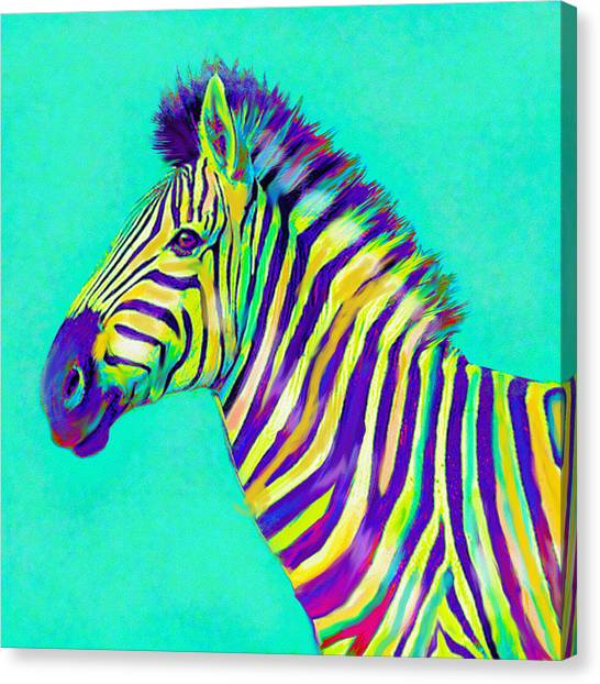 Zebras Canvas Print - Rainbow Zebra 2013 by Jane Schnetlage