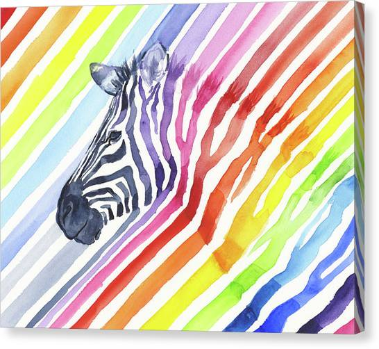 Whimsical Canvas Print - Rainbow Zebra Pattern by Olga Shvartsur