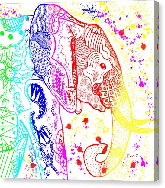 Rainbow Zentangle Elephant Canvas Print