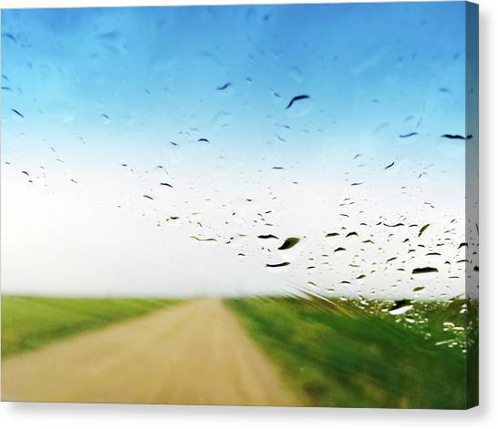 Dirt Road Canvas Print - Raindrops On A Car Window by GoodMood Art