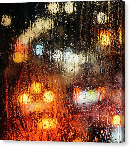 Raindrops On Street Window Canvas Print