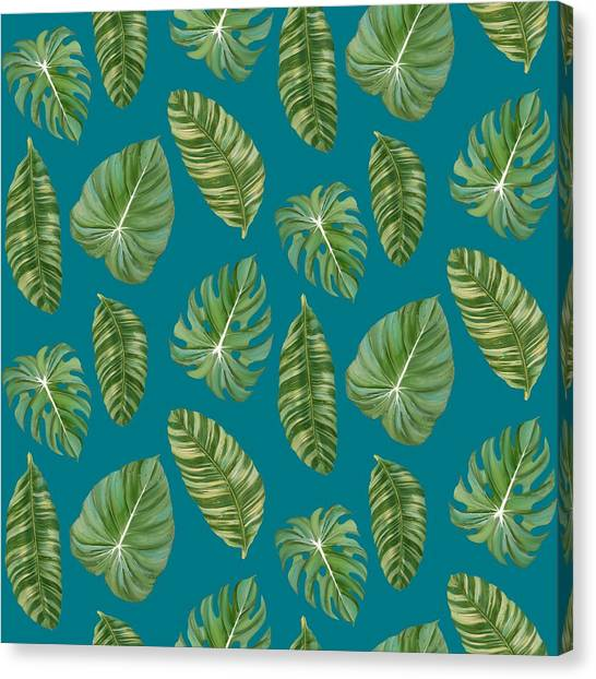 Tropical Canvas Print - Rainforest Resort - Tropical Leaves Elephant's Ear Philodendron Banana Leaf by Audrey Jeanne Roberts