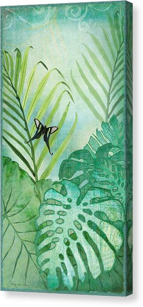 Tropical Rainforests Canvas Print - Rainforest Tropical - Philodendron Elephant Ear And Palm Leaves W Botanical Butterfly by Audrey Jeanne Roberts