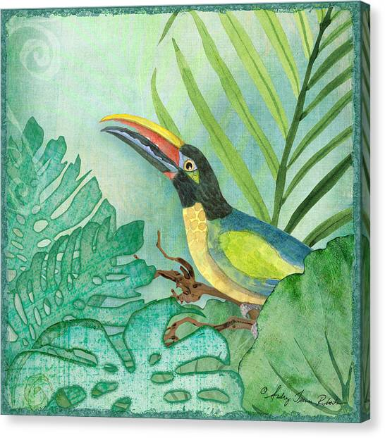 Toucans Canvas Print - Rainforest Tropical - Jungle Toucan W Philodendron Elephant Ear And Palm Leaves 2 by Audrey Jeanne Roberts
