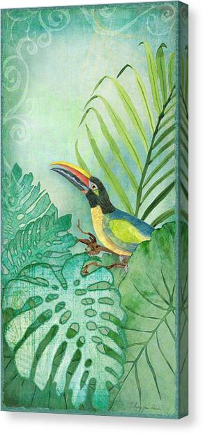 Toucans Canvas Print - Rainforest Tropical - Tropical Toucan W Philodendron Elephant Ear And Palm Leaves by Audrey Jeanne Roberts