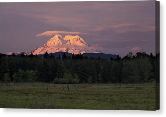 Mount Rainier Canvas Print - Rainier Dusk by Mike Reid