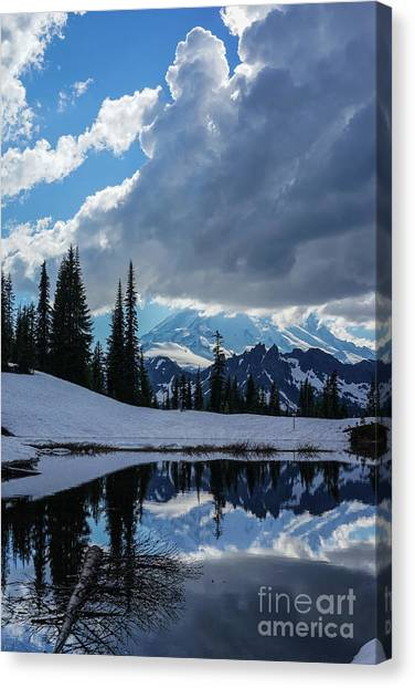 Table Mountain Canvas Print - Rainier Reflection Dramatic Skies by Mike Reid