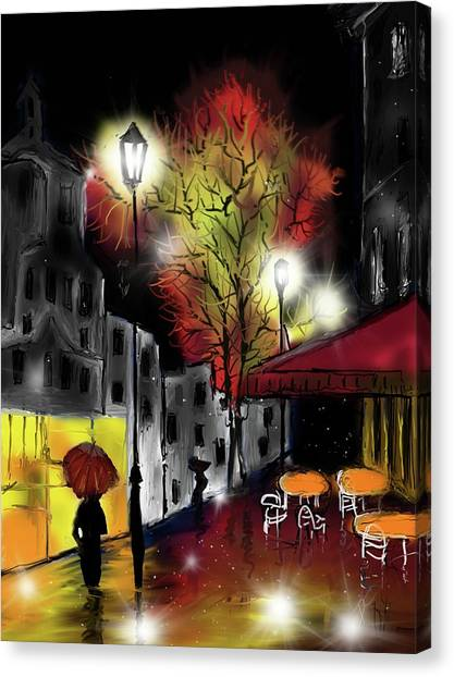 Canvas Print featuring the digital art Raining And Color by Darren Cannell