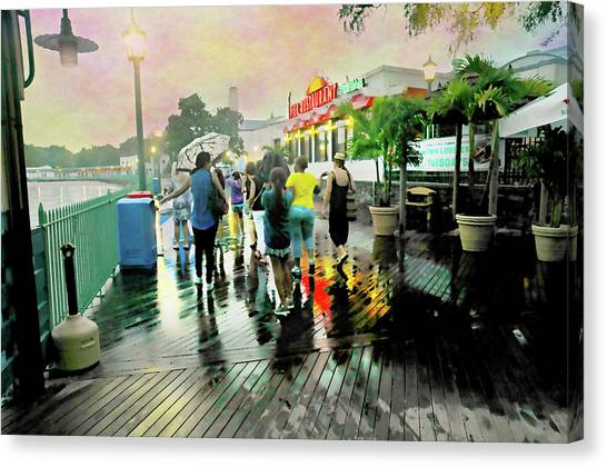 People Walking On Beach Canvas Print - Raining At The Tiki Bar by Diana Angstadt