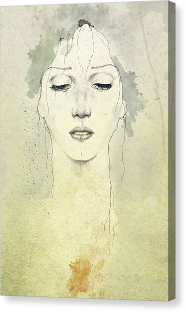 Woman Canvas Print - Raining by Diego Fernandez