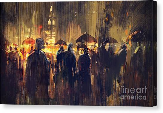 Canvas Print featuring the painting Raining by Tithi Luadthong