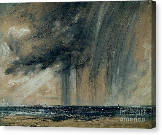 Rain Canvas Print - Rainstorm Over The Sea by John Constable