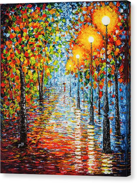 Canvas Print featuring the painting Rainy Autumn Evening In The Park Acrylic Palette Knife Painting by Georgeta Blanaru